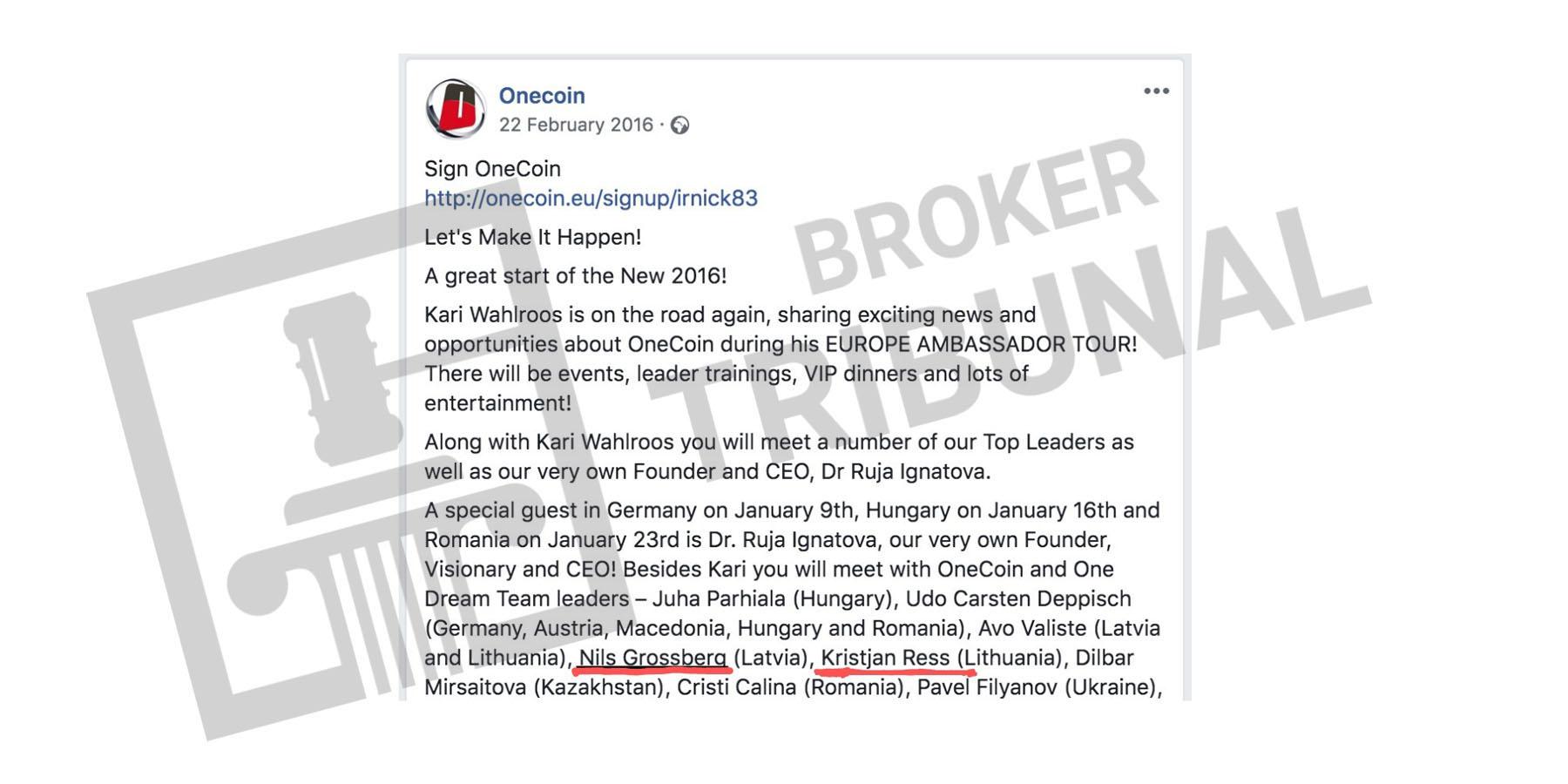 Создатели Фабрики успеха были знакомы в период работы в OneCoin